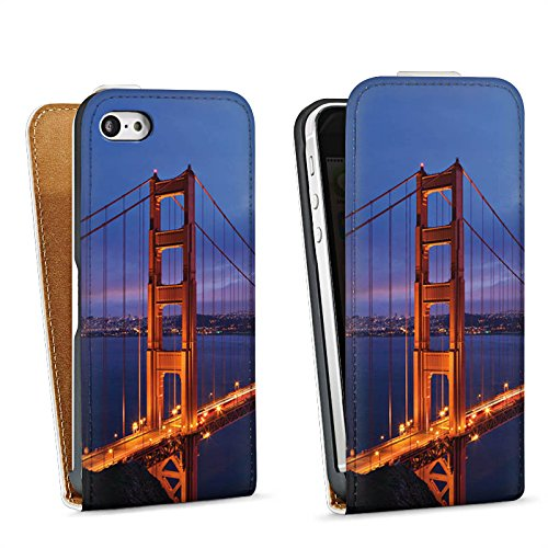 Apple iPhone 5s Housse Étui Protection Coque Pont du Golden Gate San Francisco Amérique Sac Downflip blanc