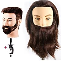 HAIREALM Man Mannequin Head 100% Real Human Hair With Beard Cosmetology Hairdressing Training Manikin Doll (Suit for Bleaching and Dyeing) EHF0408W