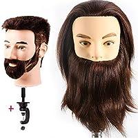 Cabeza Maniquí hombre barba y bigote 100% Pelo Natural Peluqueria practicas Formación Muñeca de la Cosmetología (con soporte) EHF0408W
