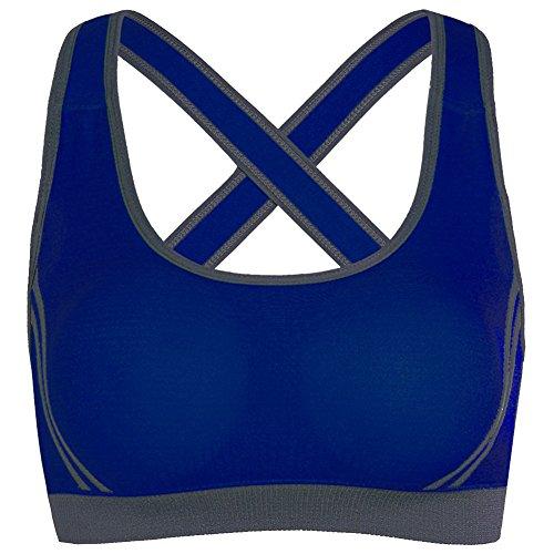 iBaste Femme Soutien Gorge de Sport Armatures Dos Nageur Emboîtant Bretelles Croisées Bleu