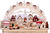 BRUBAKER 3D LED Lichterbogen Schwibbogen - Winterlandschaft mit Altstadt - LED Beleuchtung - Holz natur - 43,5 x 27 x 10,1 cm - Handbemalt