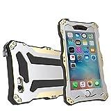 qichenlu [Robuste Konstruktion] Gold iPhone 6s Plus / 6 Plus Aluminium Silikon Hybrid Gehäuse,Eingebaute Display Glasfolie Rundumschutz Outdoor Hülle Extrem Stoßfest Metall Case für iPhone 6s Plus / 6 Plus