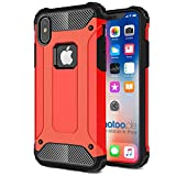 gahatoo iPhone X [10] Outdoor Case Hülle Ultra Slim [Hybrid TPU Silikon Hardcase] Handyhülle in Rot [Tactical Military Defender]