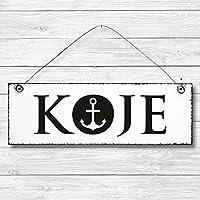 Koje - Schlafzimmer Anker maritim Türschild Dekoschild Wandschild Holz Deko Schild 10x30cm Holzdeko Holzbild Deko Schild Geschenk Mitbringsel Badezimmer