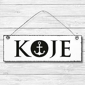 Koje – Schlafzimmer Anker maritim Türschild Dekoschild Wandschild Holz Deko Schild 10x30cm Holzdeko Holzbild Deko Schild Geschenk Mitbringsel Badezimmer