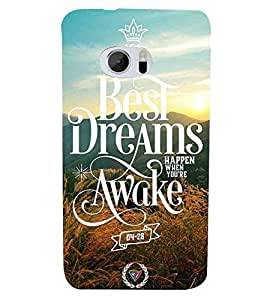 Crown, Green, The Best dreams Happen when you are awake, Amazing Pattern, Printed Designer Back Case Cover for HTC 10 :: HTC One M10
