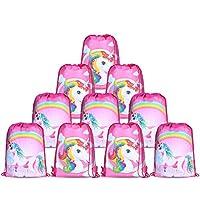 10pcs/Set Unicorn Bags for Unicorn Party Supplies Unicorn Drawstring Shoulder Backpack Bag Bulk for Girls Kids Children for Birthday Candy Baby Shower Unicorn Party Favors Gift