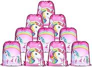 10pcs/Set Unicorn Bags for Unicorn Party Supplies Unicorn Drawstring Shoulder Backpack Bag Bulk for Girls Kids