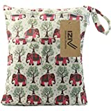 IZiv(TM) Baby Waterproof Reusable Wet And Dry Baby Diaper Bag Organizer Pouch Double Zipper Printing Diaper Bag(Elephant)