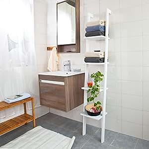 sobuy frg15 w wandregal mit vier b den badregal leiterregal standregal b cherregal breit 33cm. Black Bedroom Furniture Sets. Home Design Ideas
