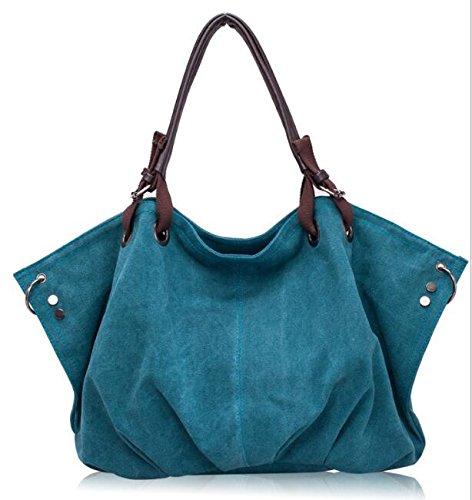 hochwertiges canvas - frauen handtasche lässig mit großer kapazität penner tasche heiß verkaufen frauen absolut trapez solide umhängetasche Blau