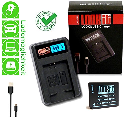 LOOKit Akku BLG10 +.LOOKit LCD Ladegerät (handy standard) für Panasonic Lumix DC GX9 LX100 II TZ91 TZ81 TZ101