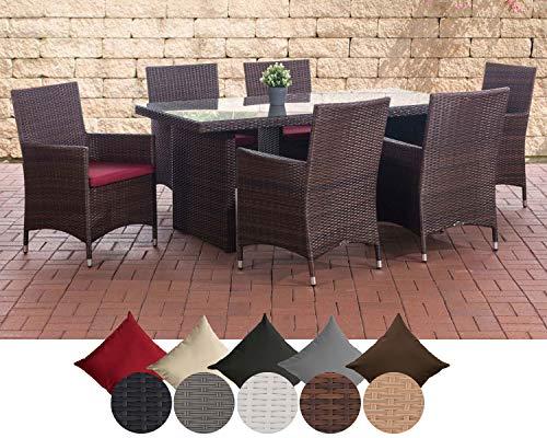 CLP Polyrattan Sitzgruppe Avignon (Tisch 180 x 90 cm + 6 x Polyrattan Stuhl Julia + Sitzauflagen), bis zu 5 Rattan-Farben + 5 Bezugsfarben wählbar Rattanfarbe: Braun-meliert, Bezugfarbe: Rubinrot