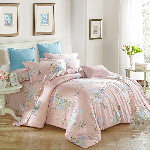 BB.er Beidseitig 100% Tencel Frühling und Sommer Bettwäsche set Atmungsaktiv glatte Heimtextilien Bettwäsche Kollektion, Pink Plum Blossom, 220 X 240 cm -