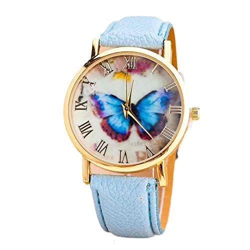 Frauen Armbanduhr,Ultra Dünne Armbanduhren für Damen Günstige Uhren Frauen Mode Analoge Quarz Uhr Luxus Armband Uhren Schmetterling Muster Leder Uhren Business Mädchen Frau Uhr Cassic Damenuhr