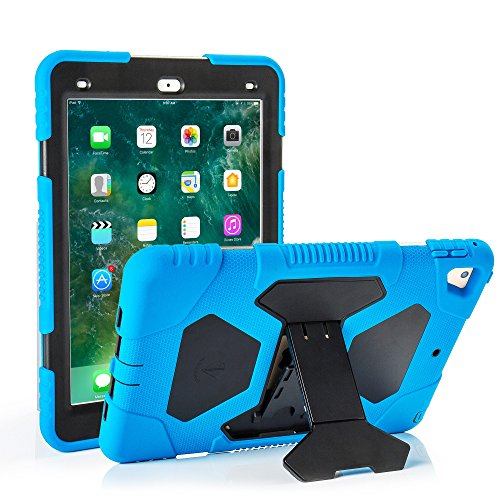 Neue iPad 9,72018/2017Fall, kidspr leicht stoßfest Robuste Cover mit Stand Schutz Full Body Rugged für Kinder für neue Apple iPad 24,6cm 2018/2017(6. Gen, 5. Gen.) blau/schwarz Gen Screen Protector