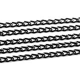 SiAura Material 1x Halskette Gliederkette Aluminium, Länge 10m, Schwarz mit Silberfarbenen Details