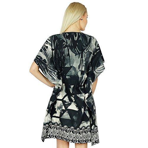 Bimba femmes courtes en coton caftan noir Coverup manches kimono d'été Kaftan Noir