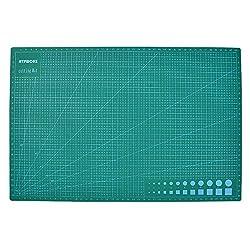 ATPWONZ Schneidematte 45 x 30 cm (A3) aus recyceltem PVC in grün mit selbstschließender, selbstheilender Oberfläche , Schneideunterlage, Cutting Mat 5 Schichten Struktur