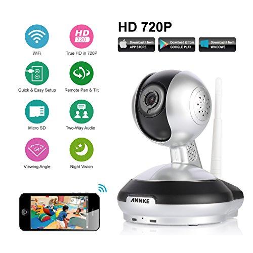 WLAN IP Kamera,ANNKE HD WiFi Überwachungskamera,mit 355°/120°Schwenkbar,Home und Baby Monitor mit Bewegungserkennung, Zwei-Wege-Audio, Nachtsicht, unterstützt Mobile App Kontrolle Digitale Tilt Motion Sensor
