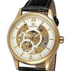PIXNOR Men Skeleton Mechanical Wrist Watch Hand-Wind Up PU Leather Strap (White Golden)