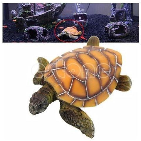 ZPP-Acuario El acuario de accesorios de resina de la tortuga tortuga ornamento ornamento Acuario adornos de tortugas marinas de resina amarillo