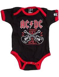 Sourpuss AC/DC Baby Body Manga Corta–Wanna Rock 'n' Roll Pelele Negro/Rojo