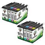 GREENSKY 8 Packung Kompatible Tintenpatrone Ersatz für HP 932XL 933XL für HP Officejet 6100 6600 6700 7110 7510 7610 7612 Drucker - 8 Farbe (2 Schwarz, 2 Cyan, 2 Magenta, 2 Gelb)