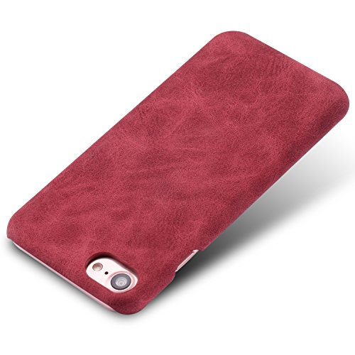 iPhone 7 Case,Genuine Leather Magnetic Case Cover per iPhone 7 (Verde) Rosso