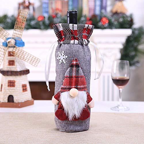 (SPFAZJ Weihnachten Tischdekoration Weihnachten Dekorationen heißen Wald Mann, die Puppe Rotwein Champagner Flasche gesetzt Set Wein Set Resta Urant Layout)