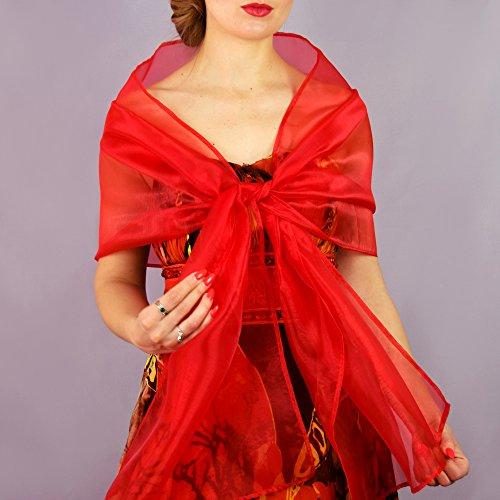 Chal organza color rojo novia boda novia vestido fiesta