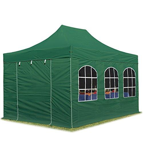 Tente pliante 3x4,5 m avec fenêtres vert fonce PROFESSIONAL tente pliable ALU pavillon barnum INTENT24