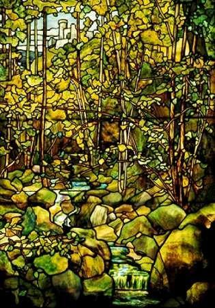 Fine Art Print–d'une fenêtre du verre au plomb d'une scène de forêt par Bentley Global Arts Group, 21 x 31