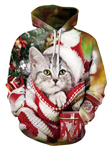 ROBO Kapuzenpullover Herren 3D Drucken Weihnachten Katze Sweatshirt Damen Baseball Punllover