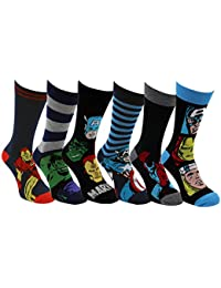 Mens Marvel Comics Avengers Socks Iron Man Hulk Captain America Thor Spiderman Socks with Comic Sticker