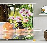 Abakuhaus Duschvorhang, Zen Steine Aromatische Kerzen und Orchideen Blüten Kerzen Licht Ferien Thematisiertes Druck, Blickdicht aus Stoff inkl. 12 Ringe für das Badezimmer Waschbar, 175 X 200 cm
