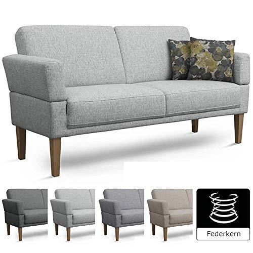 Küche Sitzbank (Cavadore 3-Sitzer Sofa Femarn mit Federkern / Küchensofa für Esszimmer oder Küche / 190 x 98 x 81 / Strukturstoff Hellgrau)