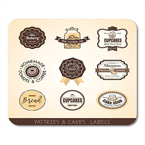 Luancrop Mousepads Kuchen-Plätzchen der Weinlese-Bäckerei-Aufkleber und der Rahmen-Entwurfs-Glas-Kreis-Mausunterlage für Notizbücher, Tischrechner-Mausunterlagen, Bürozubehöre