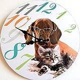 Tinas Collection Wanduhr mit dem Motiv Hund mit Brille