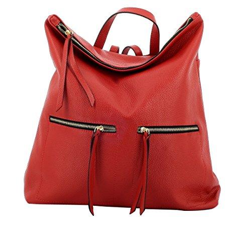 Dream Leather Bags Made in Italy Cuir Véritable Sac à Dos Pour Femme En Cuir Véritable Couleur Rouge - Maroquinerie Fait En Italie - Sac à Dos