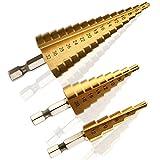 3 Stück HSS Stufenbohrer, Kitclan Hochgeschwindigkeitsstahl Titan Beschichtet Bohrer mit Sechskantschaft, Set von 4-12 mm / 4-20mm / 4-32mm