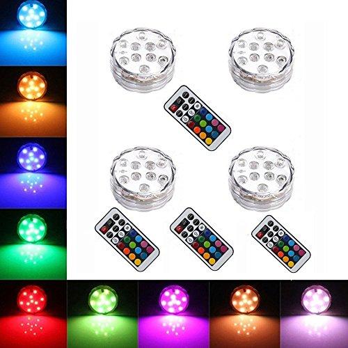 StillCool® 4pcs Multicolor RGB LED unterwasser Wasserdicht Lampe Leuchte Deko Lichter Schwimmlichter Beleuchtung f. Water Garden,Aquarium, Badewanne Pool und Spa etc (8pcs)