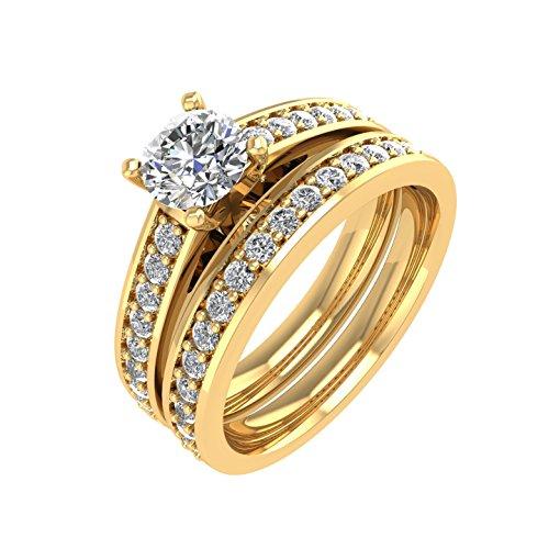 Diamond  -  Gold 14 Karat (585)  14-karätiges Gelbgold Rundschliff   Feines Weiß/Top Wesselton (G) - Weiß/Wesselton (H) Diamant  (Diamond 4-karat-ehering-sets)