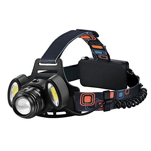 LED Stirnlampe, Elekin Superheller LED Kopflampe (Inklusive 2 x 18650 Wiederaufladbarem Batterie und Wiederaufladbarem USB-Kabel ), 4 Helligkeiten zu wahlen, Geeignet für Nachtangeln, Nachtfahrten, Camping, Wandern,Fahrrad usw (schwarz)