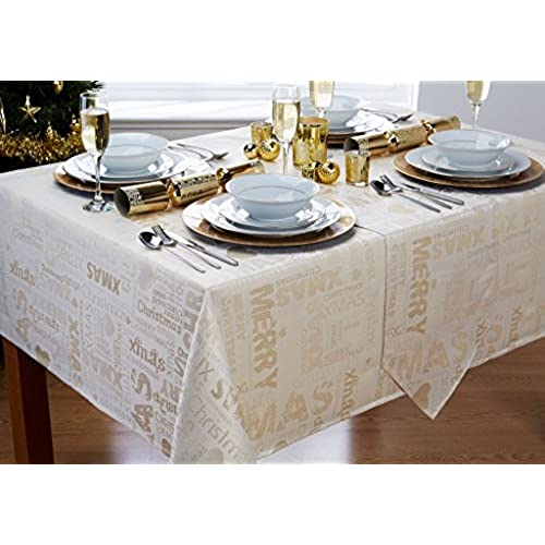 Xmas Text Cream/Gold Christmas Tablecloth (52x70in 132x178cm Approx)