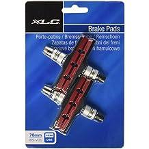 XLC V- Pastillas de freno bicicleta BS-V01, pack 4 unidades, 70 mm, negro/rojo