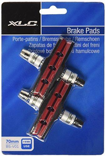 XLC Unisex– Erwachsene Bremsschuhe V-Brake BS-V01 4er Set 70 mm Rot, Schwarz, One Size