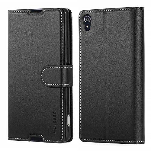 Mulbess Business Style Ledertasche im Ständer Book Case / Kartenfach für Sony Xperia Z2 Tasche Hülle Leder Etui,Schwarz