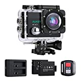 AUKEY Action Cam 4K Ultra HD, WiFi e 2.4 GHz Telecomando, Impermeabile, Grandangolo 170°, con Caricatore di Batterie, Due Batterie e Kit Accessori