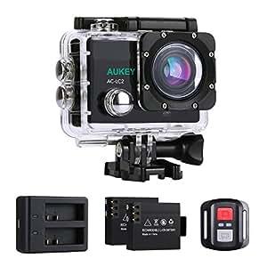 AUKEY Caméra Sport 4K Ultra HD Wifi Action Cam Étanche avec Siège de Recharge Comme Cateau, 2,4GHz Télécommande et Autre 20 Accessoires, Sport Camera avec 170° Grand Angle pour Vélo, Moto, Skier et Plonger (Noir)